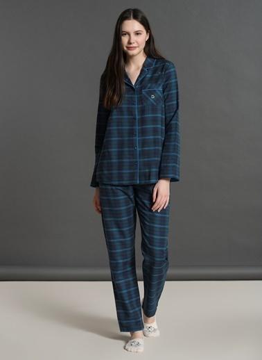 Dagi Ekoseli Gömlek Uzun Kollu Pijama Takımı Lacivert